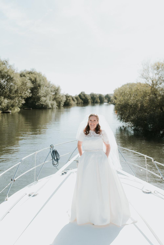 Bride on boat River Thames
