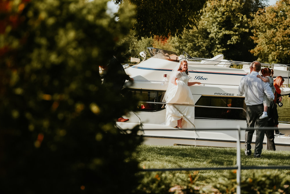 Bride arriving by boat Sonning