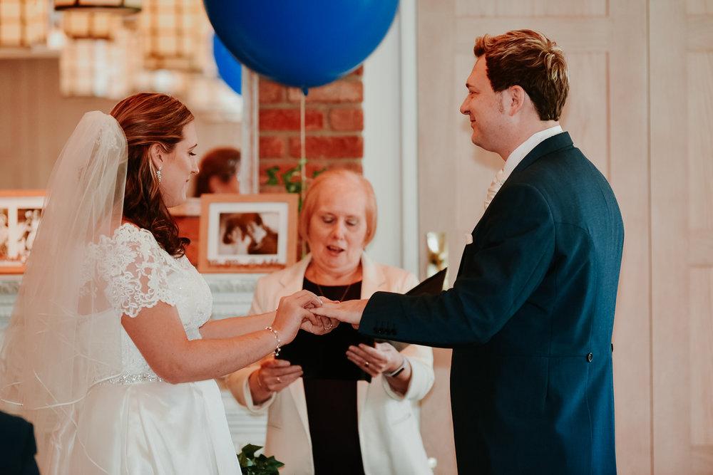exchanging rings Berkshire wedding