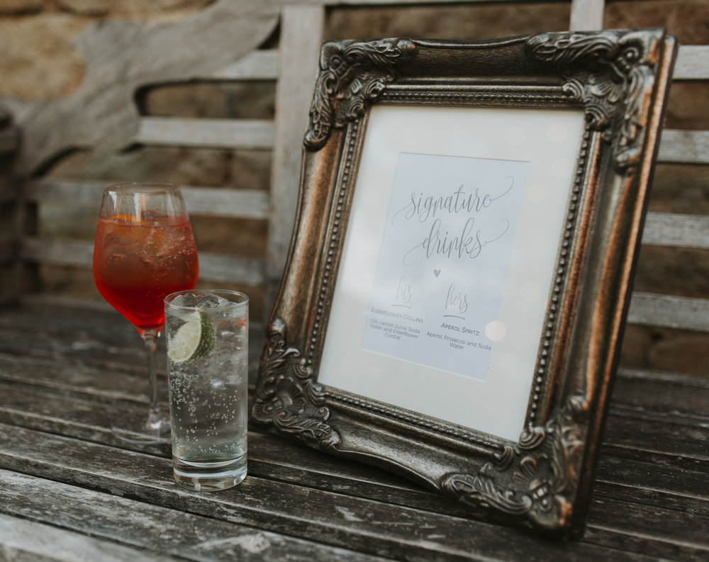 signature wedding cocktails with gin