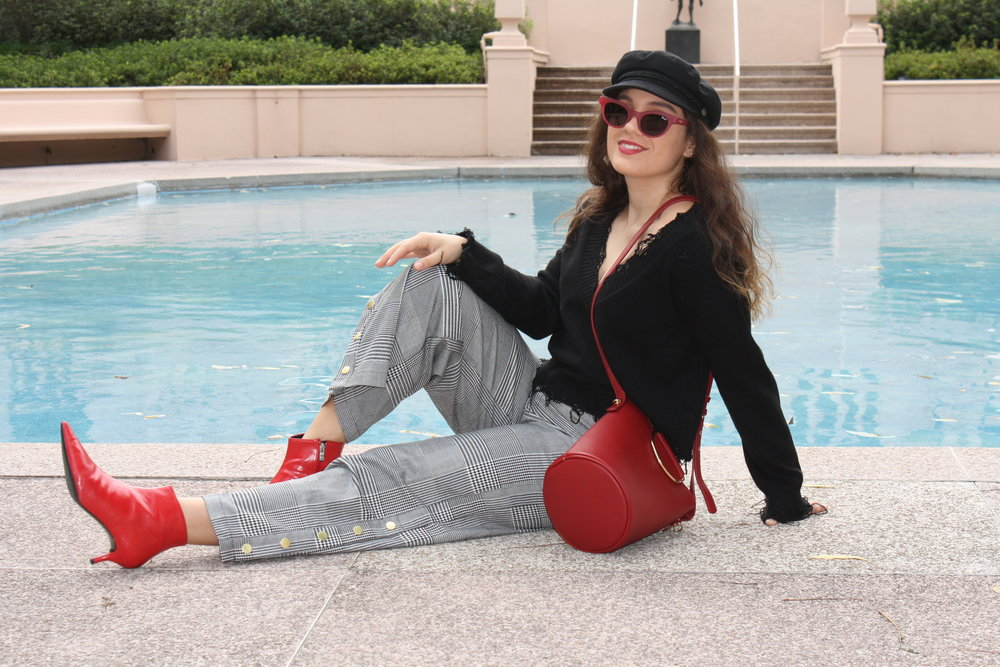 Sweater: Honey Punch; Pants: Target Who What Wear Collection; Shoes: Zara; Hat: Brixton; Purse: Target Who What Wear Collection; Sunglasses: Quay x Kylie