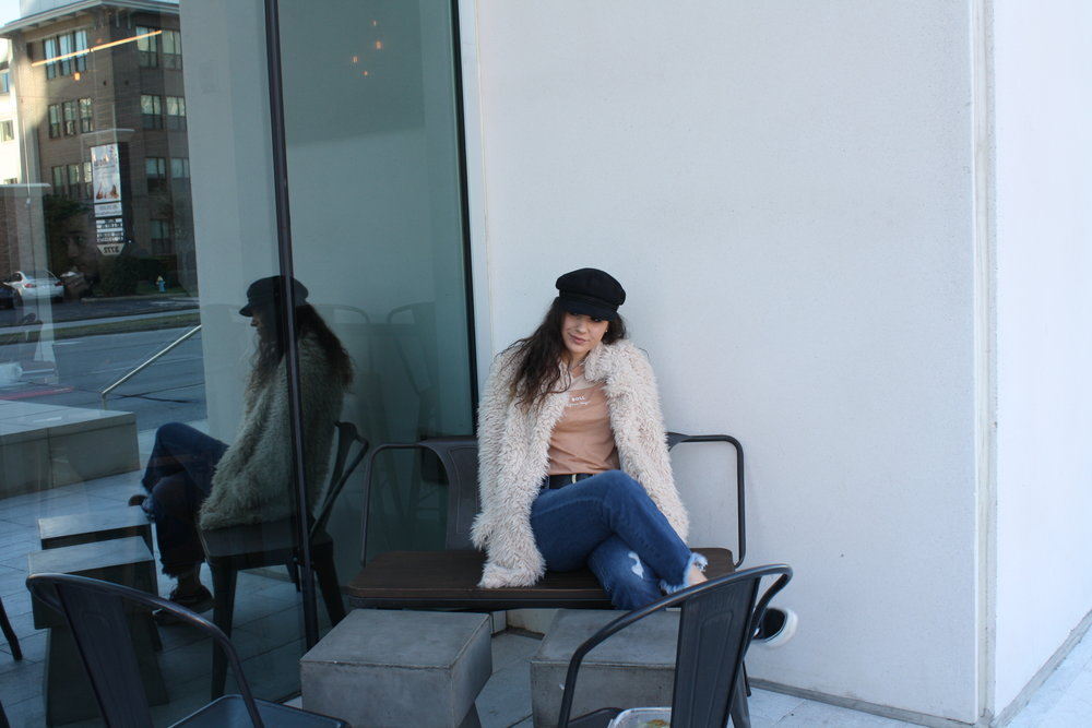 Hat: Brixton; Shirt: MATE the Label; Jacket: Sage the Label; Jeans: Just Black Denim