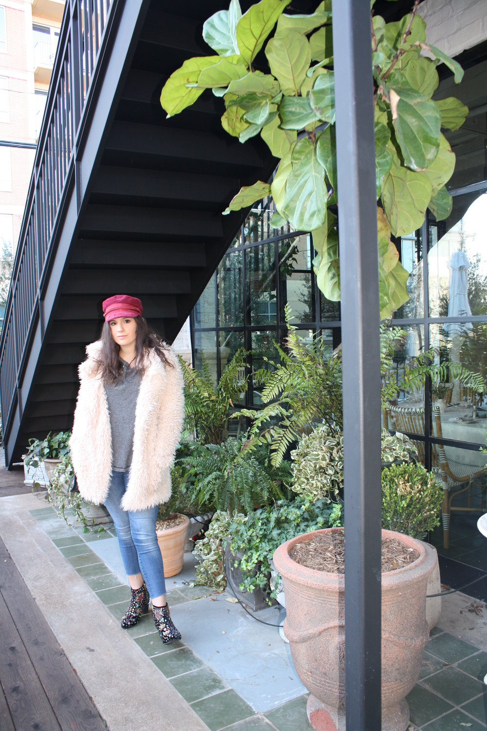 Hat: Brtixton from UO; Shirt: Free People; Jacket: Sage the Label; Jeans: 7 for All Mankind; Shoes: Free People