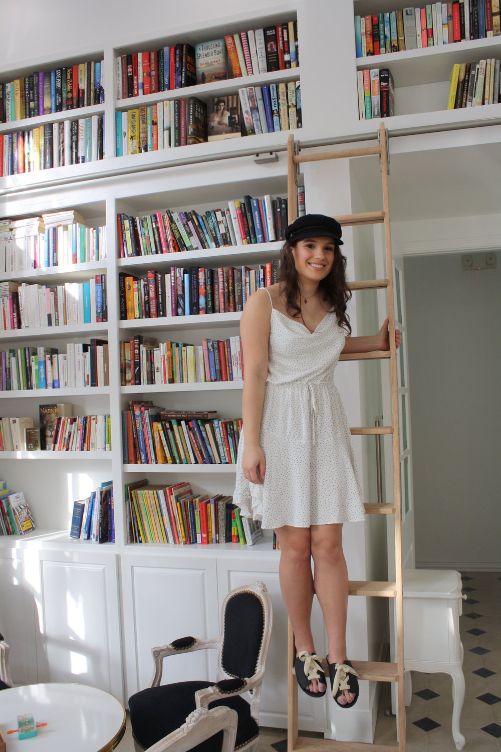 Hat: Brixton; Sunglasses: Quay; Jewelry: Frasier Sterling and Child of Wild; Dress: MinkPink; Shoes: Matisse