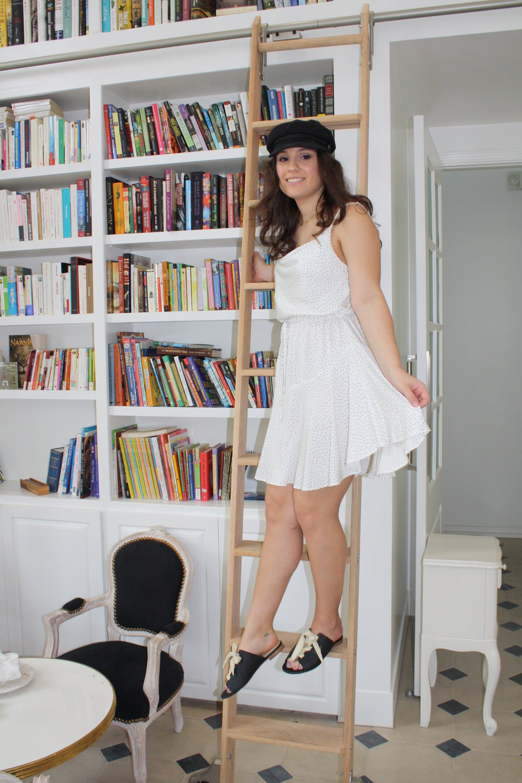 Hat: Brixton; Dress: MinkPink; Shoes: Matisse