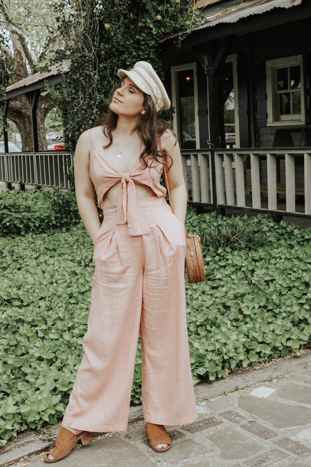 Jumpsuit: Moon River; Purse: Cleobella; Hat: Lack of Colors; Shoes: Steve Madden