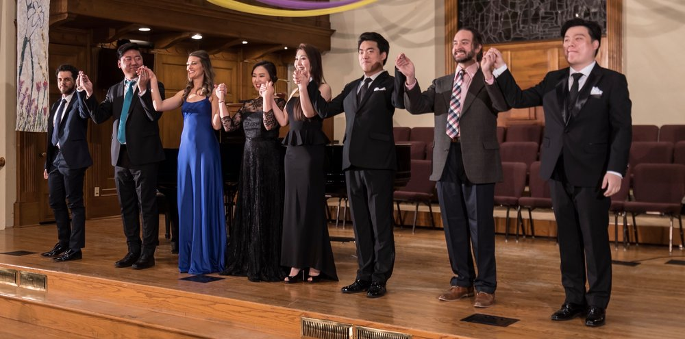 MDLO Institute Concert April 20, 2018    Left to right: Rafael Andrade, SeungHyeon Baek, Sarah Costa, Nayoung Ban, Nina Duan, ChunLai Shang, Joseph Michael Brent, Yongxi Chen