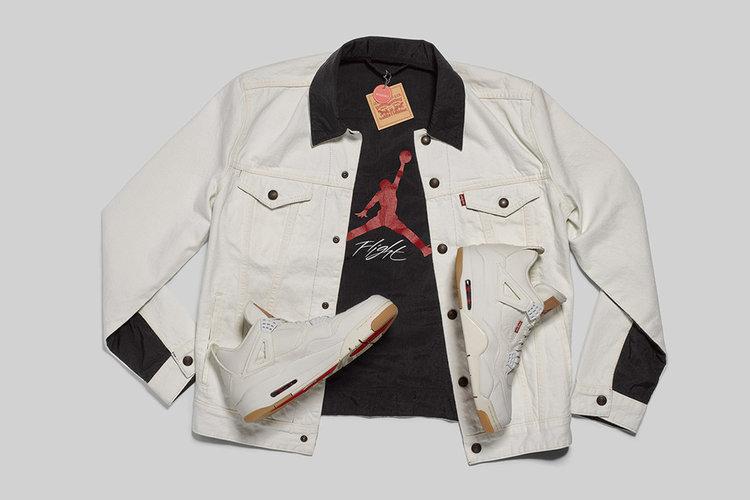 441ddb25fb7 Levi s x Jordan Brand Work Together Air Jordan 4 s And Denim Jackets ...