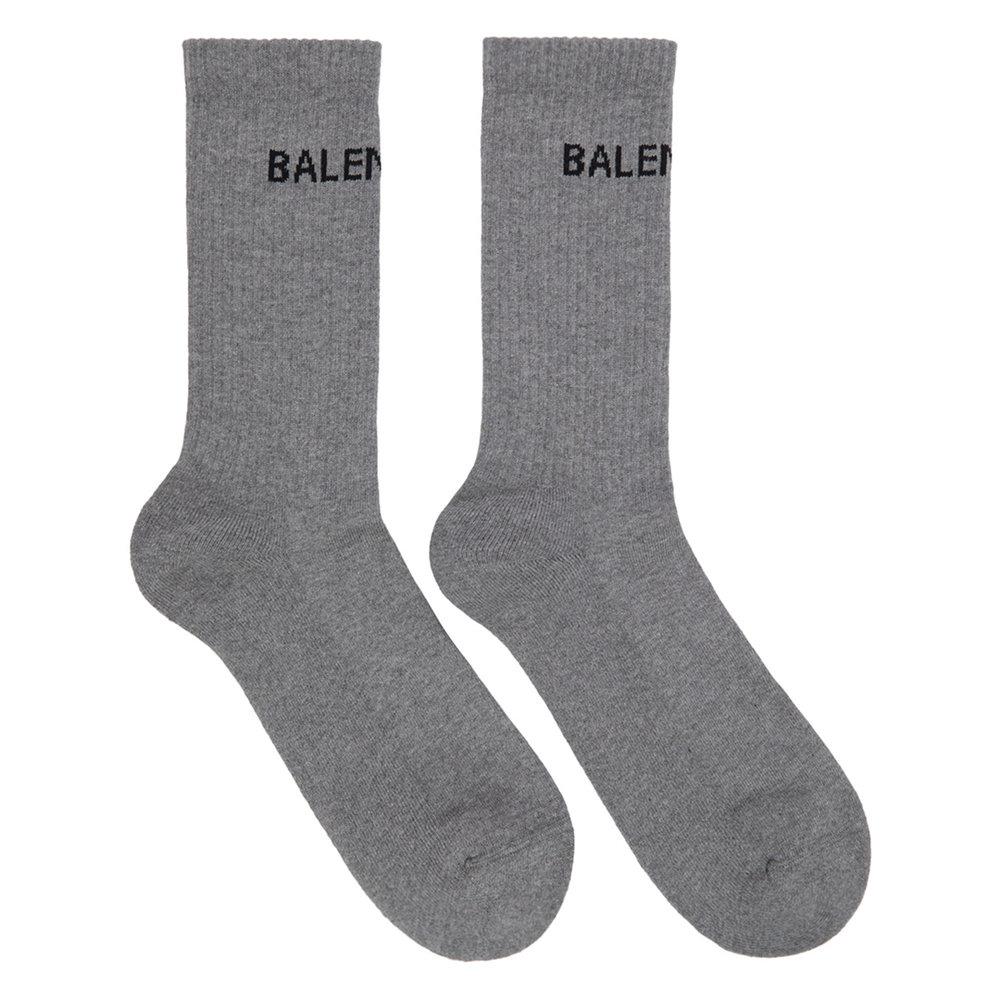 Balenciaga Grey Logo Tennis Socks