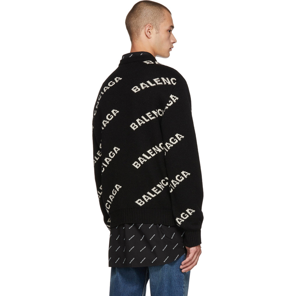 Balenciaga Black Wool & Camel All Over Logo Sweater