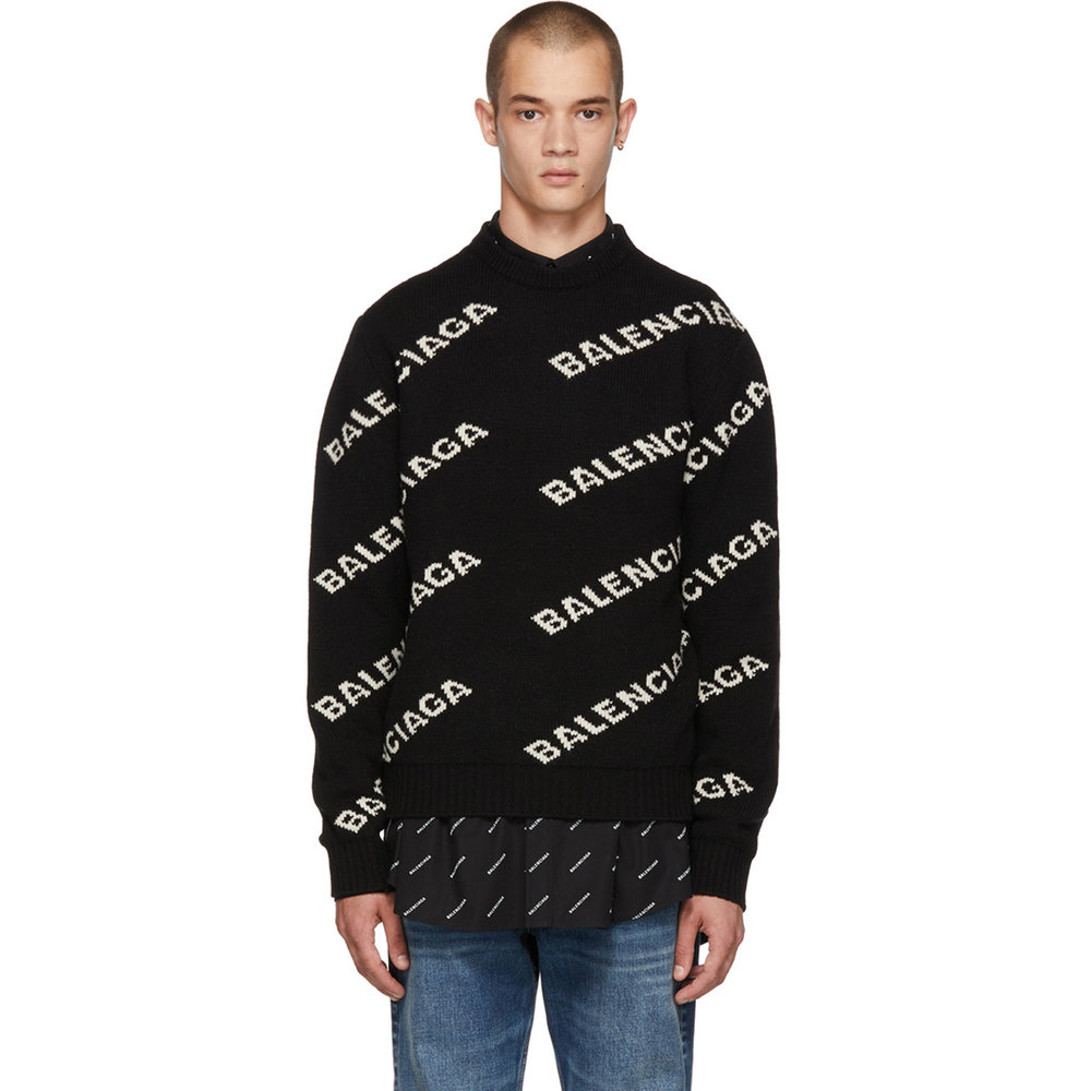 Black Wool & Camel All Over Logo Sweater