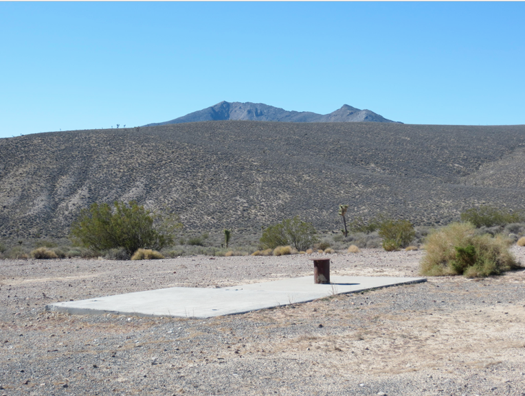 With a view of Yucca Mountain in the background