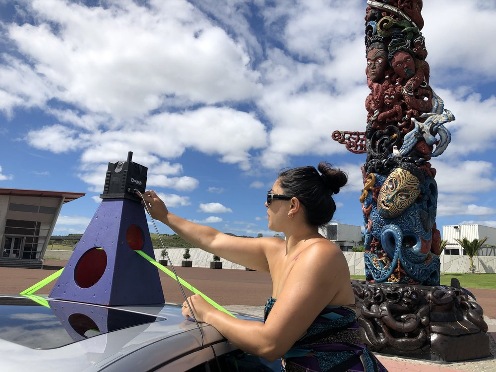 Janni sets up street view camera, testing capture and process before it heads to Rarotonga