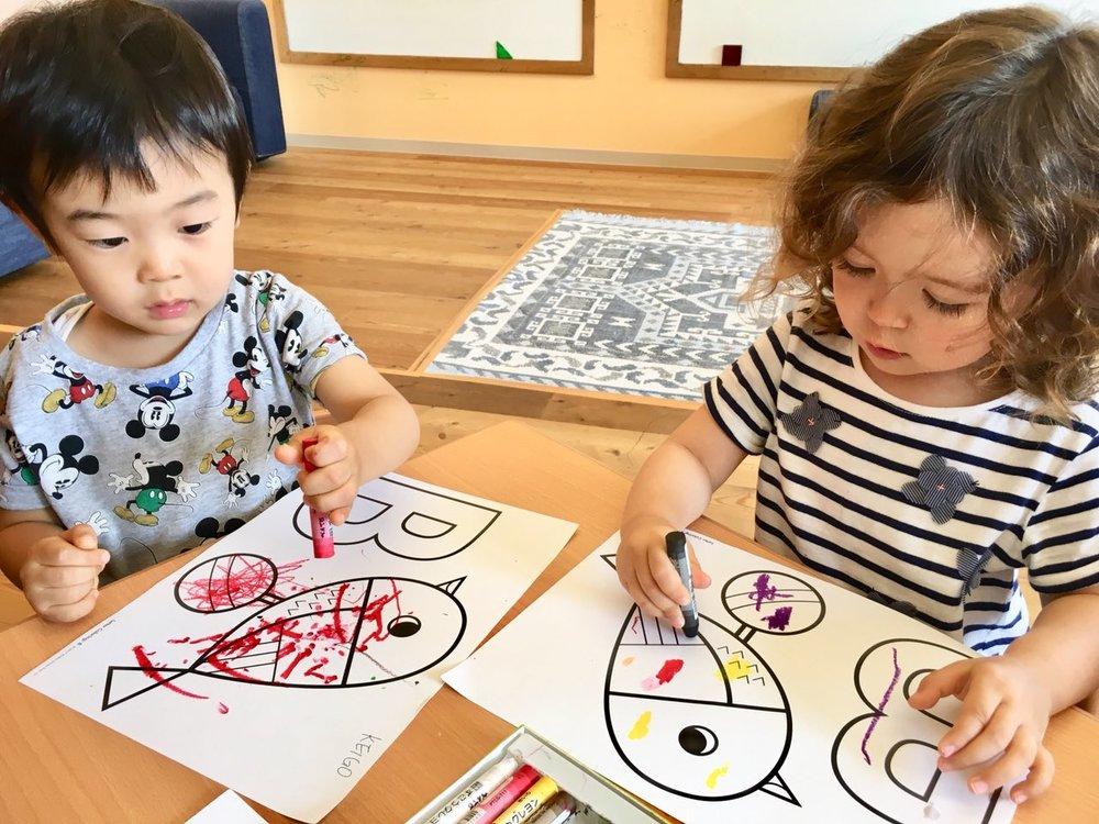 Tokyo Preschool drawing time.JPG