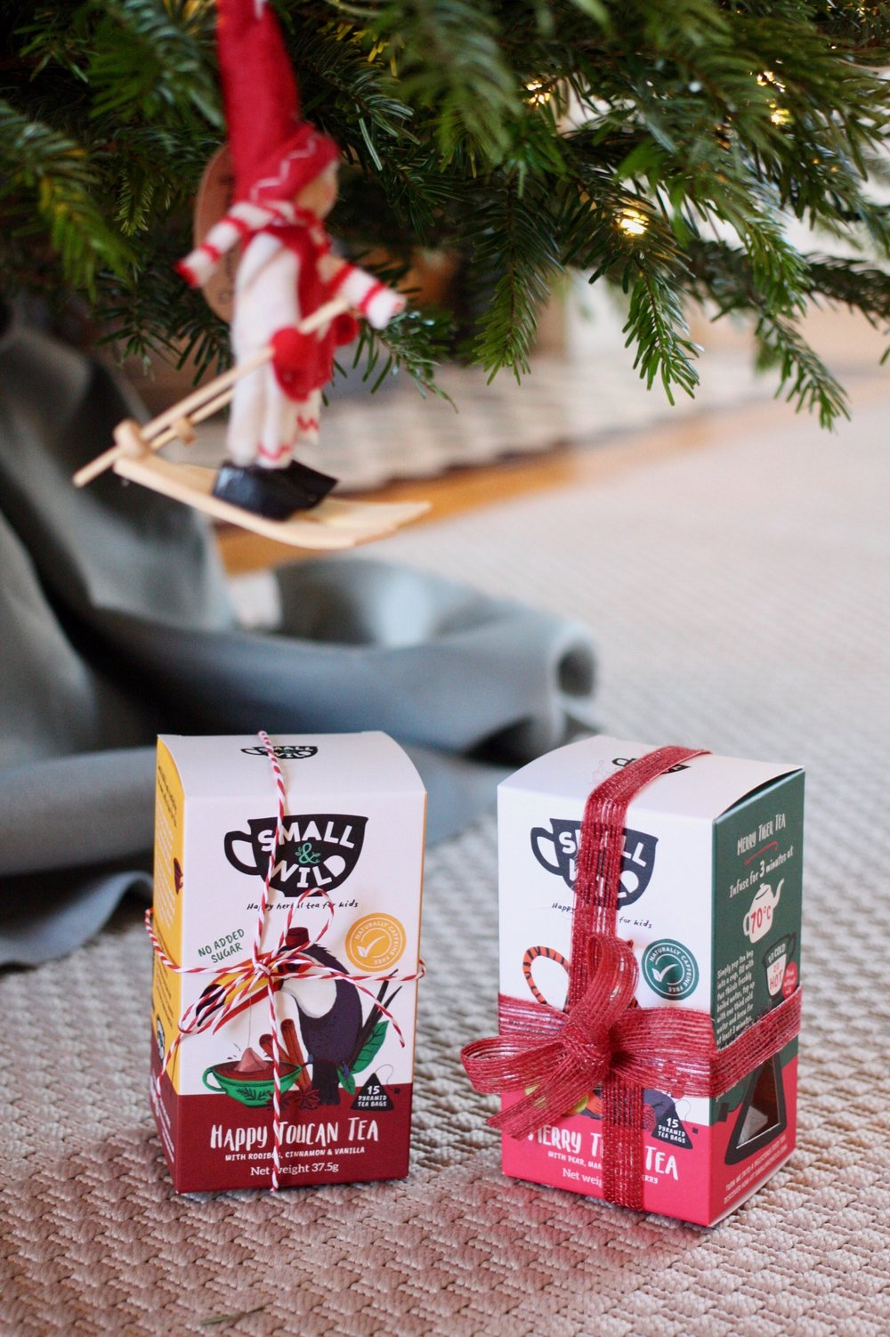small & wild tea under Christmas tree