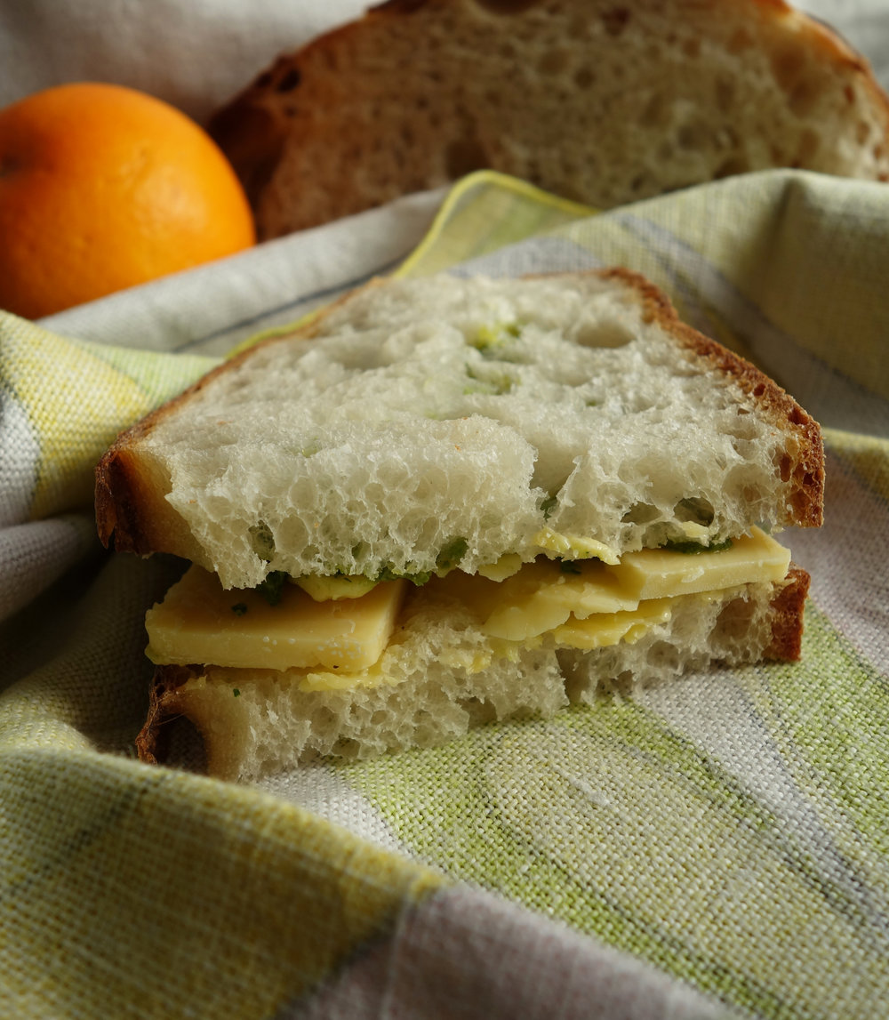 Cheese and pesto sandwich