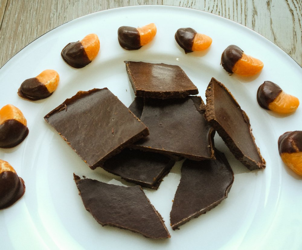 satsuma pieces covered in homemade chocolate.jpg