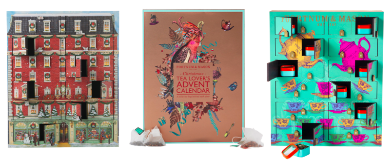 Above: Fortnum & Mason Musical Advent Calendar £150,Tea Lover's Advent Calendar £25, Rare Tea Wooden Advent Calendar £125
