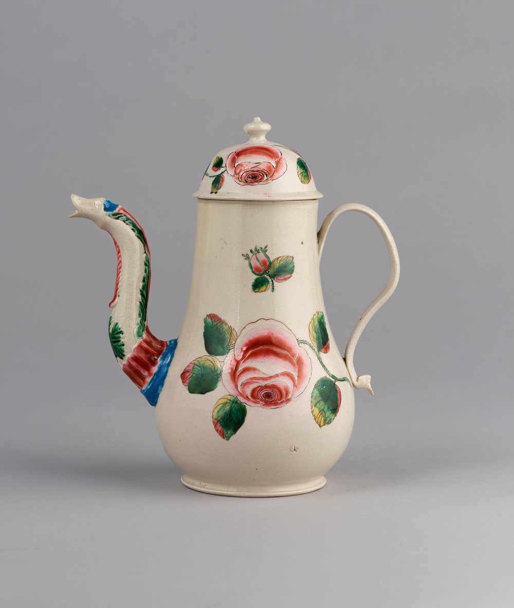 Staffordshire salt glazed coffee pot and cover, Haughton Gallery