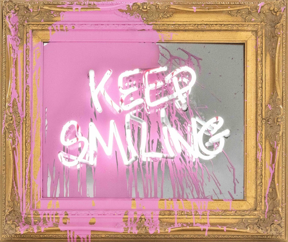 Mr Brainwash Keep Smiling (Pink Splash).Neon Lightbulb and Acrylic on Framed Mirror 2018