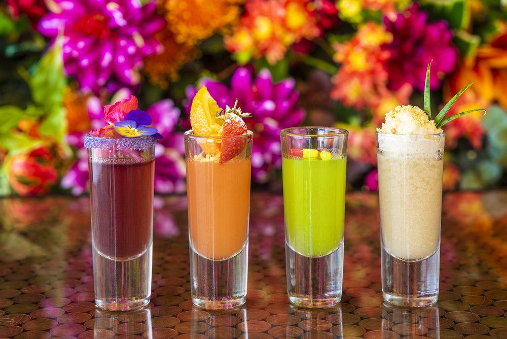 Purple Rain, Pull the Pin, Hayfever and Banana Republic cocktail shots