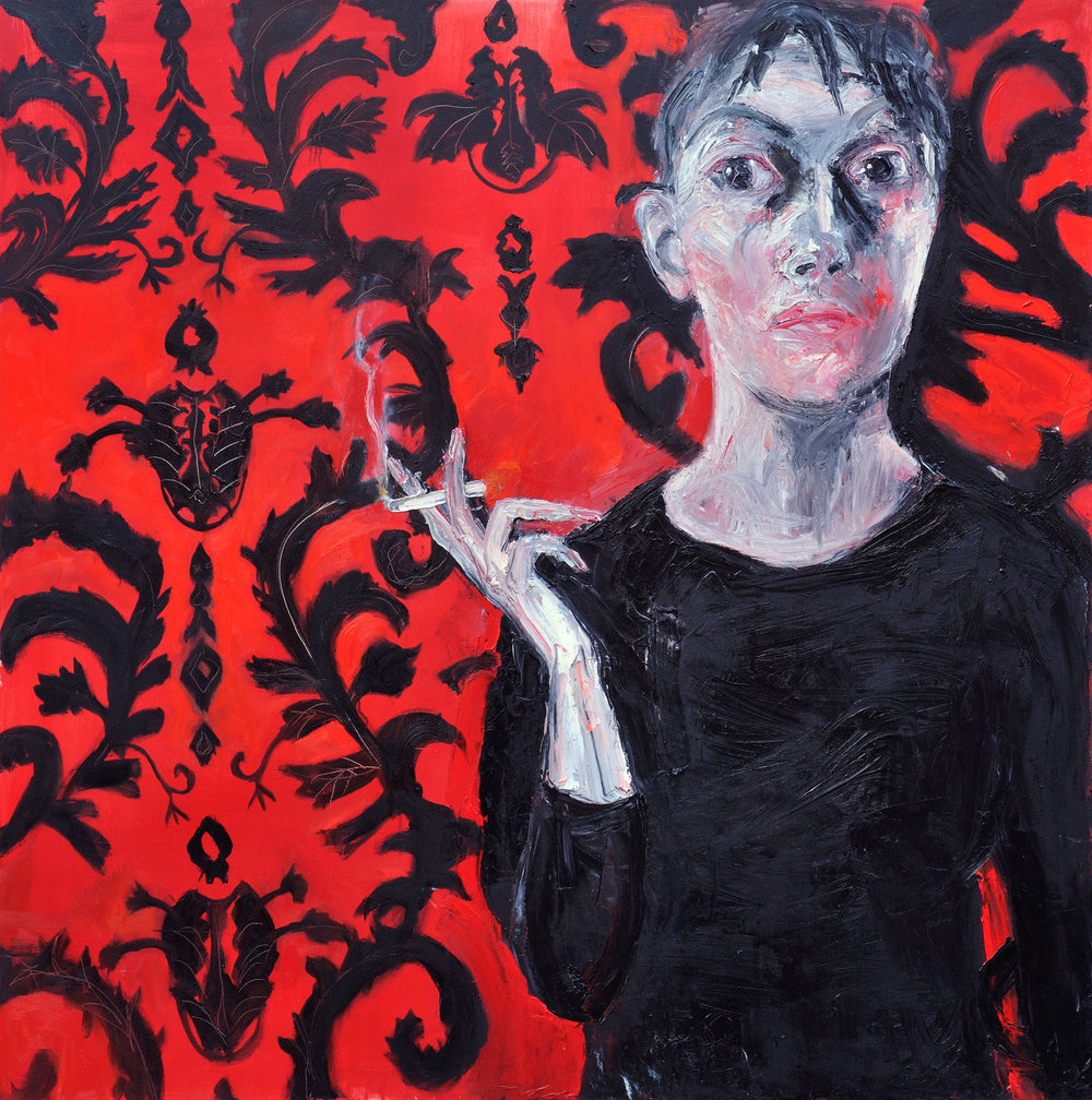 Shani Rhys James   , Woman Smoking, 2011, signed and dated verso, oil on canvas, 72 x 72 in, 183 x 183 cm