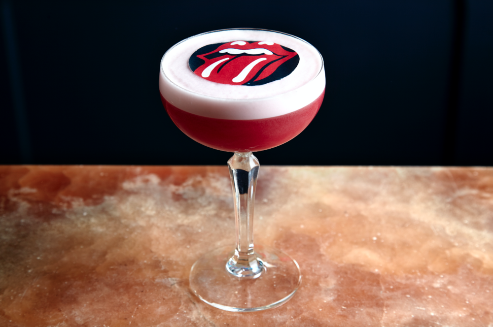 Satisfaction   The Satisfaction cocktail is priced at £9.75 and pays homage to one of Britain's most famous bands. The cocktail combines a mixture of Plymouth sloe gin, Luxardo Maraschino liquor, hibiscus and rose tea blend, lemon juice and egg whites and is topped with the iconic Rolling Stones logo.