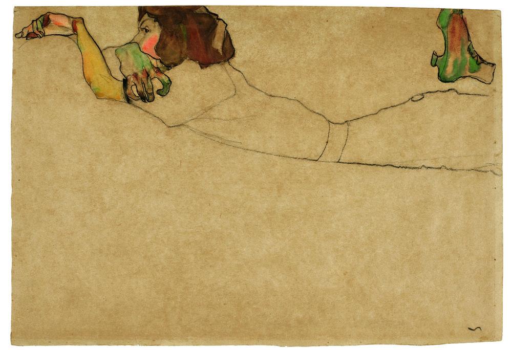 Lot 1 Egon Schiele, Auf dem Bauch liegendes Mädchen, est. £500,000-700,000