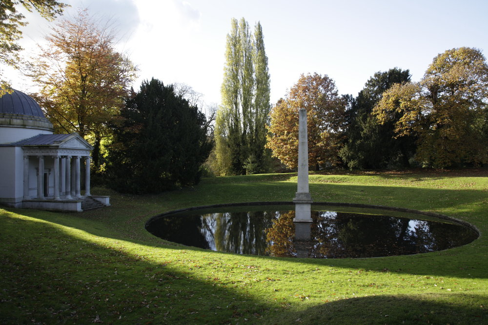 Ionic Temple Amphitheatre and Obelisk Chiswick House Gardens, Image Credit Clive Boursnell