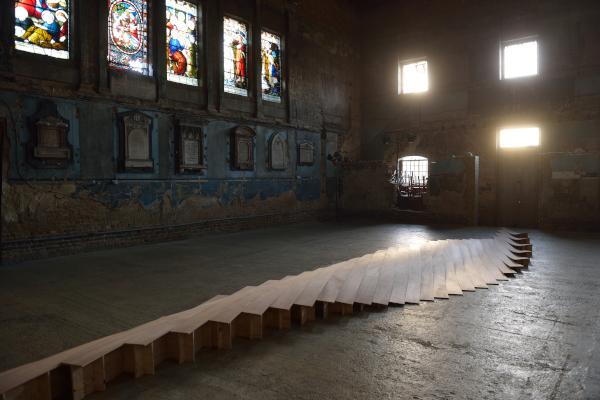 Joanna Sands,  Untitled,  the Asylum Chapel, plywood, (Image AK Purkiss) December 2014