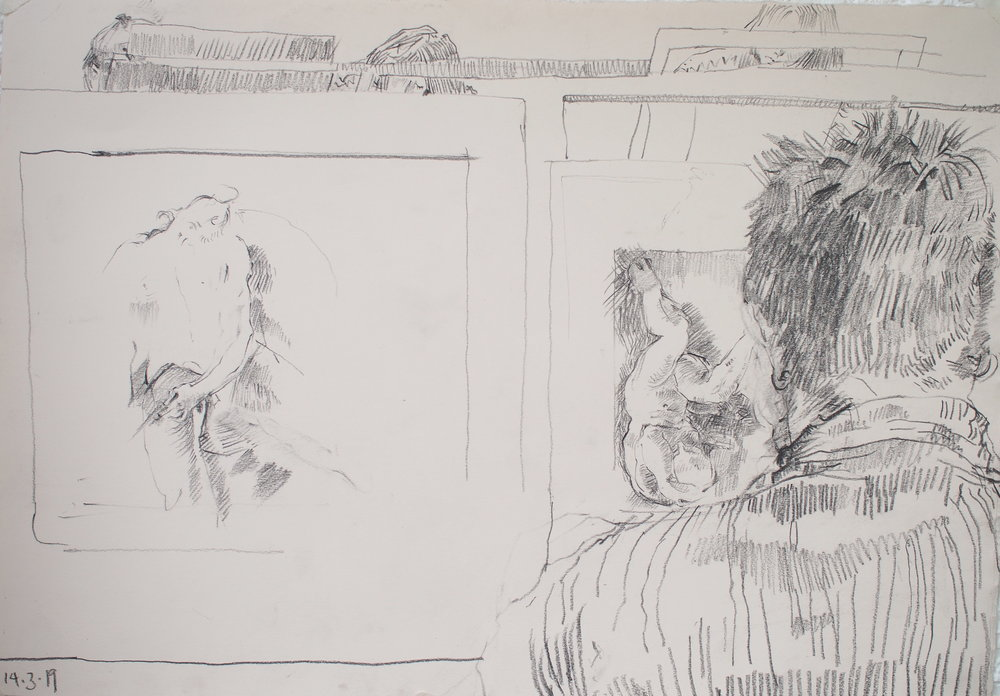 Clio Lloyds-Jacob, sketch during life drawing session, 2019
