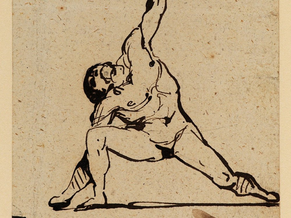 Géricault, Athlete, Pen and ink (Indian) on paper,  #D.1952.RW.3976 © The Samuel Courtauld Trust, The Courtauld Gallery, London