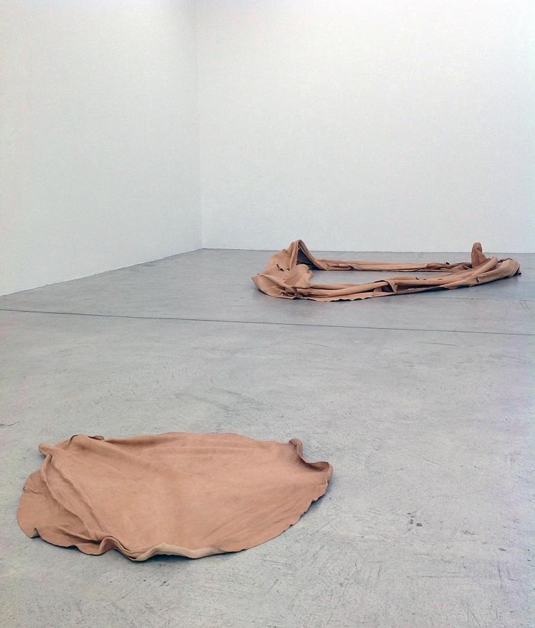 JocJonJosch / Vanishing Point exhibition shot of Untitled #1 and Untitled #2, 2014, Goat leather