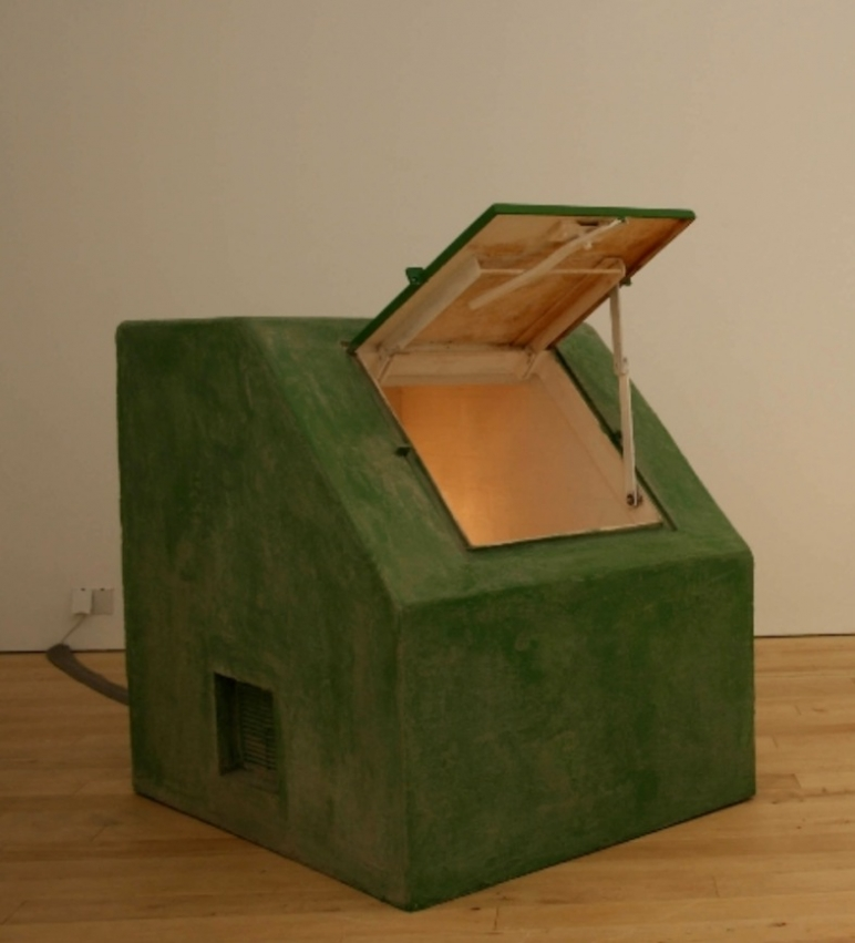 Patrick Lowry / Bunker, 2008, plywood, mirrors, wood, light fitting, 120 x 100 x 100cm