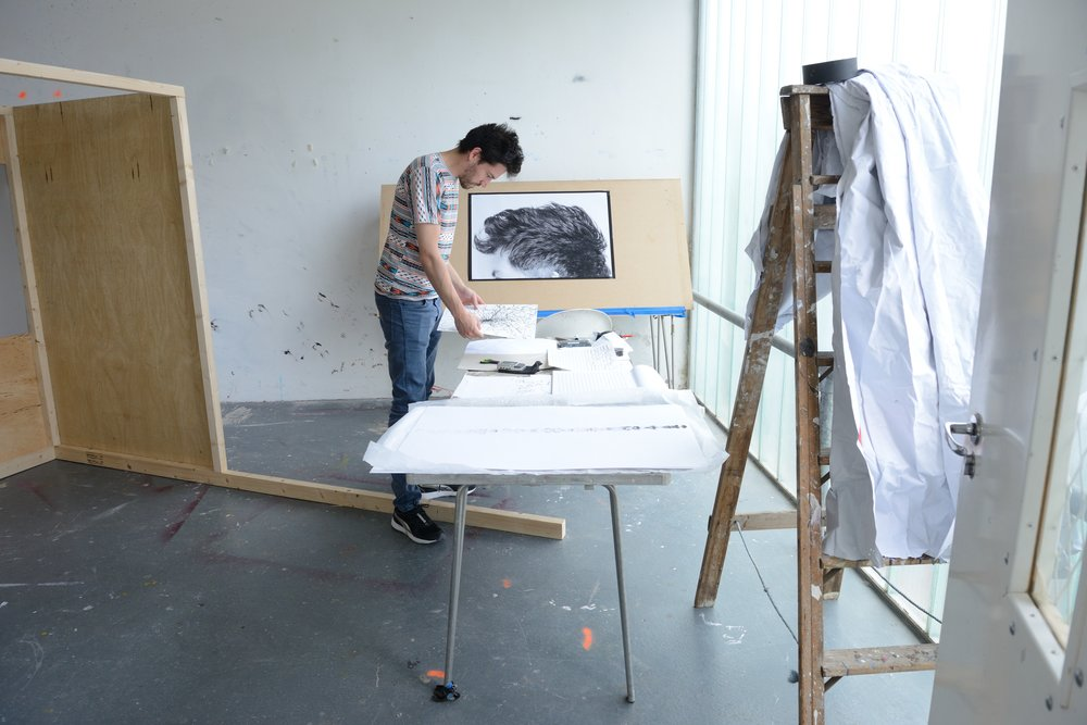 William Mackrell in the Sculpture Shock Studio, photo by A K Purkiss