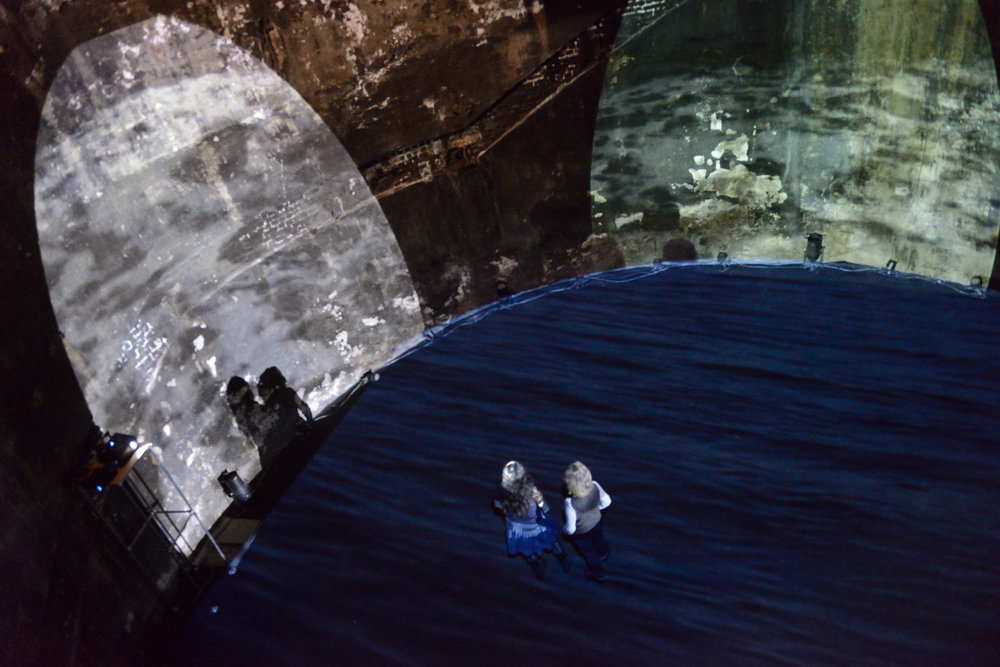 Lynn Dennison,  Sweet Thames, run softly till I end my song , Sculpture Shock Subterranean May 2015, The Brunel Shaft, photo by AK Purkiss