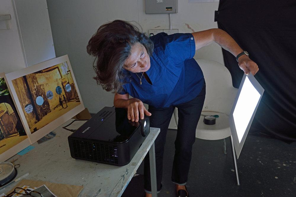 Lynn Dennison in the Sculpture Shock Studio, photo by AK Purkiss