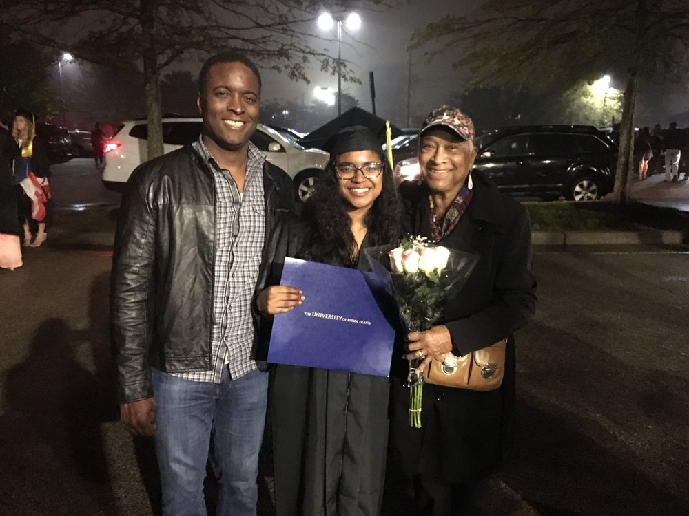 Bryan Harris and Barbara Harris with graduate Sydney Harris