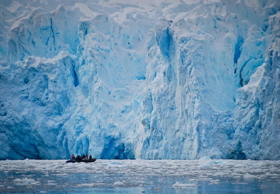 Zodiac Traversing a Glacier Face in Neko Harbour, Antarctica