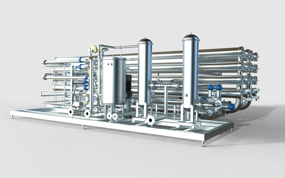 RO system for continuously making pure low conductivity water.