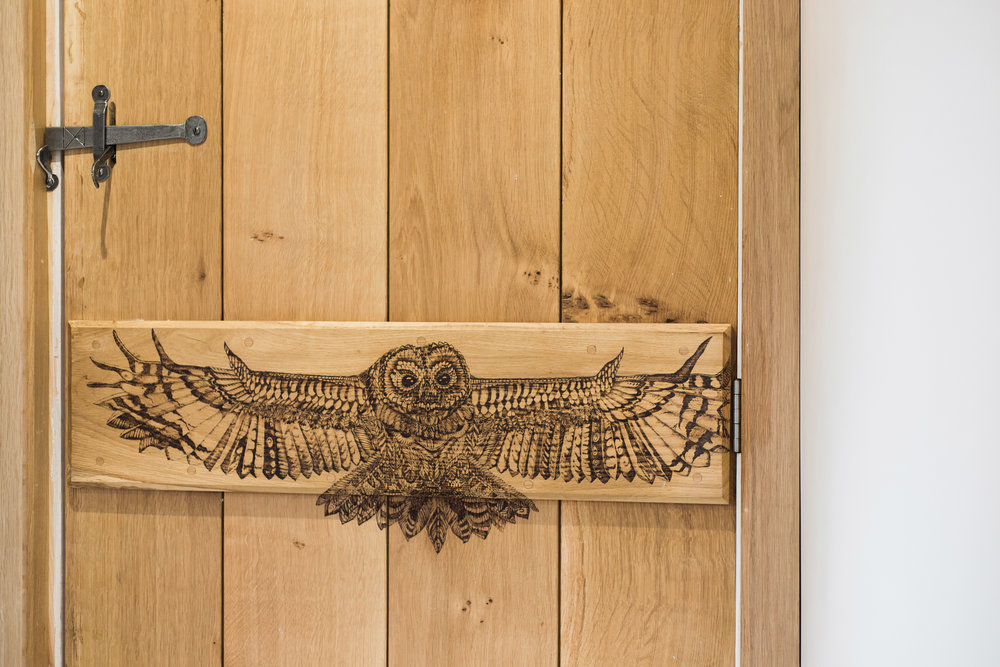 artwork - Pyrography is a term used to describe the decoration of wood using burn marks; its name aptly means 'writing with fire'.Using a specialized heated tool we can create designs on wood ranging from writing and patterns to landscapes and portraits. To date we have worked on various projects such as illustrated furniture pieces, wedding gifts, household items and signs.Please get in touch to discuss ideas and bespoke commissions. See our Gallery for examples of some of our work...