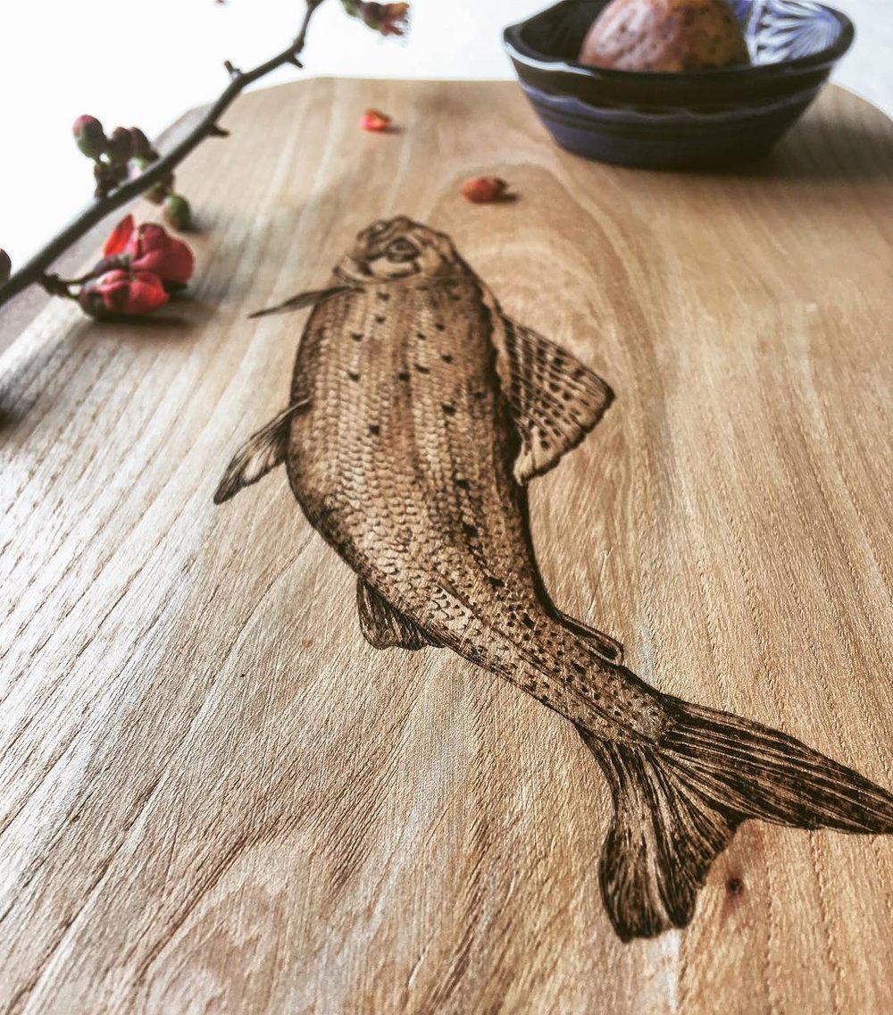 Pyrography grayling on elm