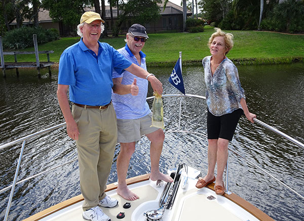 "Michael and Helen Standing of Virginia Beach, VA christened their new 2018 model Grand Banks 44 Eastbay SX ""ELENI"" on April 11th. The Standings plan to cruise ""ELENI"" from Florida to the Chesapeake Bay for the summer and then return to Florida in the fall."
