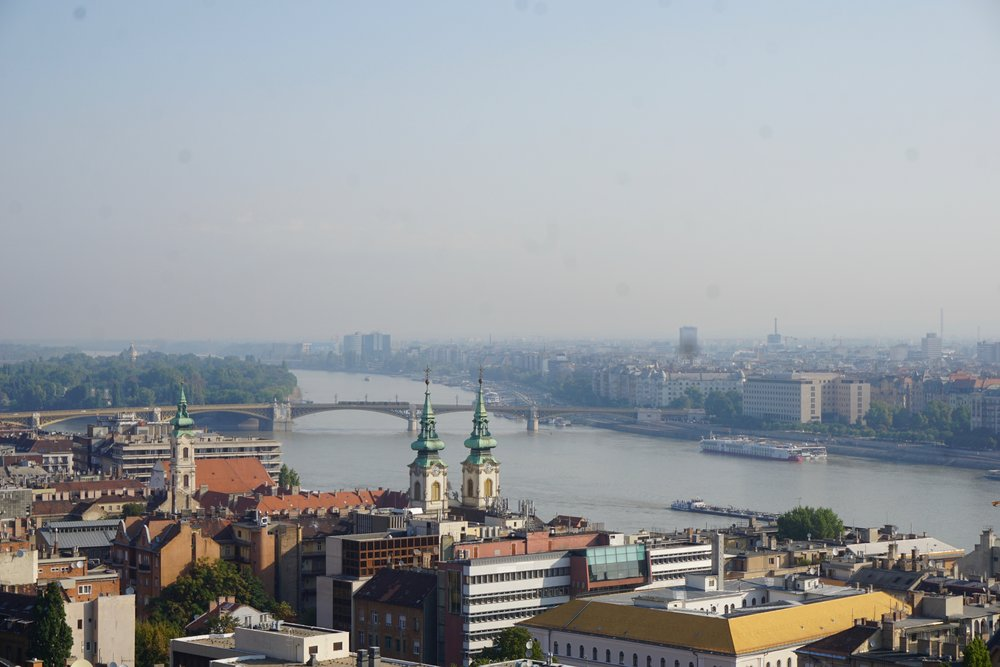 A look down to the Danube from the castle on the Pest side of the river.
