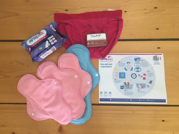 An Opportunity Kit includes washable pads, soap, a pair of underwear and an instruction manual.