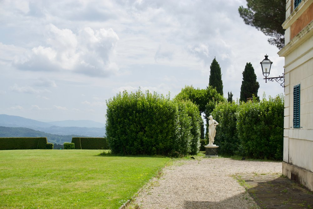 This home is the former home of the Duchess of Lucca. She and the Duke had three large estates, this one was hers and is feminine in decor and style.