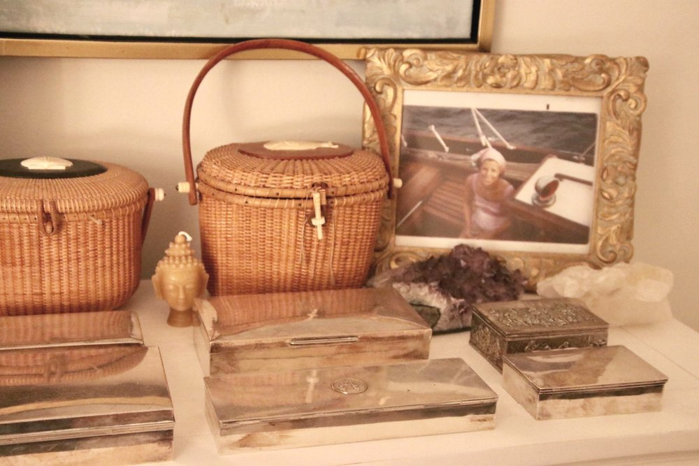 My dresser in Florida has a favorite photo of my mother and Lightship purses. The one on the right belonged to my mother in law Mame. The toggle on my purse on the left was cut off by a small inquisitive boy who is now a banker in Europe! The toggle is in the purse. I still laugh when I see it.