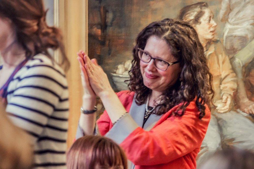 Artist Elizabeth Torak listening to Lisa speak about her inspirational work.