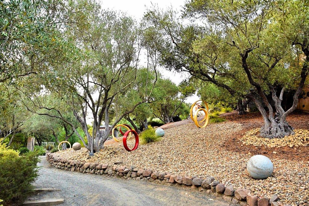 Sculpture garden and walking path at Auberge du Soleil