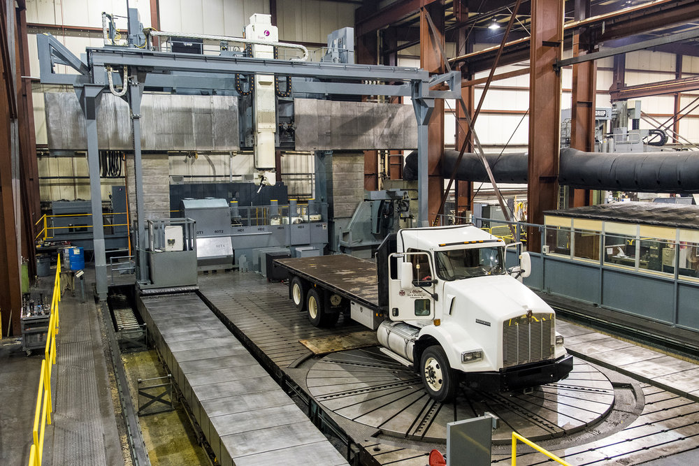"Dorries Scharmann Schiess (DSI) FZG6 Gantry Mill/Turn   720""X, 372""Y, 98""Z, 118""W, 200 deg. A, endless C, 236"" table dia. w/ 259"" max swing  223"" max height to cross-rail  280,000 lbs table capacity  100 Horsepower Live Spindle, 200 hp Turning Table  Turning up-to 21 ft. (6.5 m) and 15 ft. (4.5 m) in Z  Tool Changer, 120 Tools + Tool and Part Probe  Siemens 840D Control  Longest Heidenhain absolute scales installed in the United States"